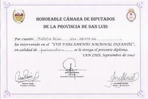 Diploma de Reconocimiento como Parlamentaria a nuestra Abanderada Natalia Arias