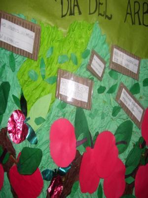 """Los chiquitos de 1º """"B"""" escribieron consejos para cuidar los árboles."""